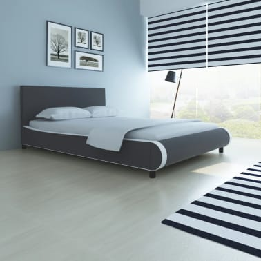 vidaXL Bett mit Matratze Kunstleder 140 x 200 cm Grau[1/10]