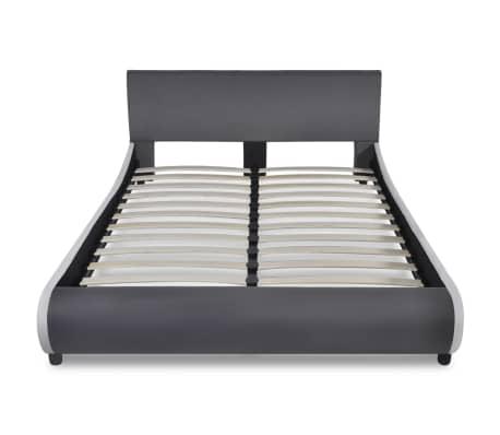 vidaXL Bett mit Memory-Schaum-Matratze Kunstleder 140 x 200 cm Grau[3/12]