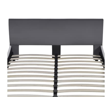 vidaXL Bett mit Memory-Schaum-Matratze Kunstleder 140 x 200 cm Grau[4/12]