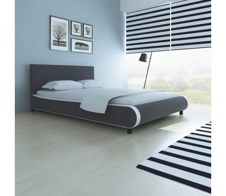 vidaXL Bett mit Memory-Schaum-Matratze Kunstleder 140 x 200 cm Grau[1/12]