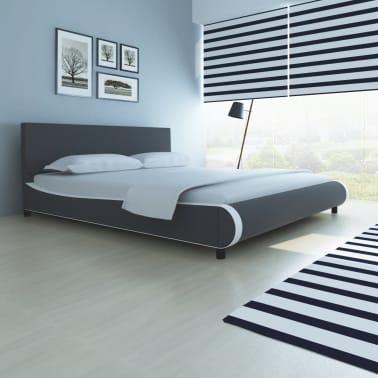 vidaXL Bett mit Memory-Schaum-Matratze Kunstleder 180 x 200 cm Grau[1/12]