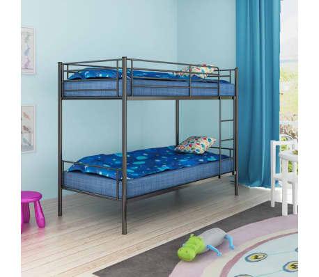 acheter vidaxl cadre de lit superpos pour enfants 200 x 90 en m tal noir pas cher. Black Bedroom Furniture Sets. Home Design Ideas
