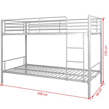 vidaxl cadre de lit superpos pour enfants 200 x 90 en m tal gris. Black Bedroom Furniture Sets. Home Design Ideas