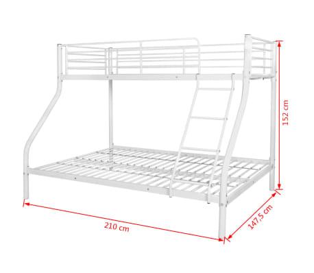 vidaXL Vaik. dviaukštės lovos rėmas, balt. sp., 140x200cm/90x200cm[6/6]