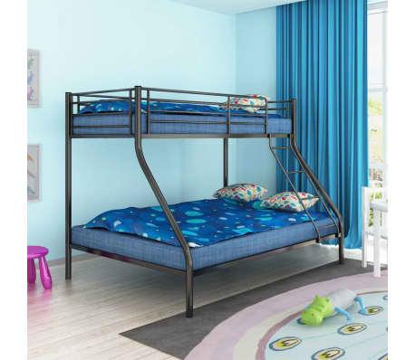 acheter vidaxl cadre de lit superpos pour enfant 200x140 200x90 en m tal noir pas cher. Black Bedroom Furniture Sets. Home Design Ideas