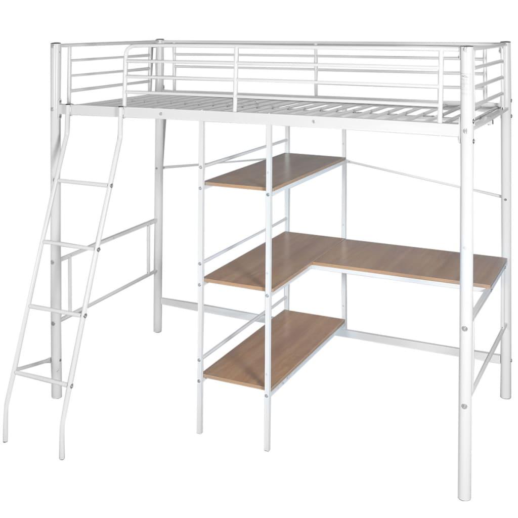 vidaXL Κρεβάτι Υπερυψωμένο με Γραφείο Λευκό-Καφέ 200x90 εκ. Μεταλλικό