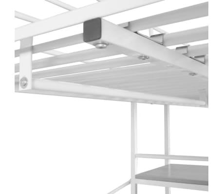 Vidaxl cama alta con escritorio 200x90 cm blanca y marr n metal - Cama alta con escritorio ...