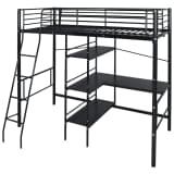 vidaXL High Sleeper Bed with Desk Metal 200x90 cm Black