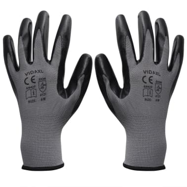 vidaXL Work Gloves Nitrile 24 Pairs Grey and Black Size 8/M[1/4]