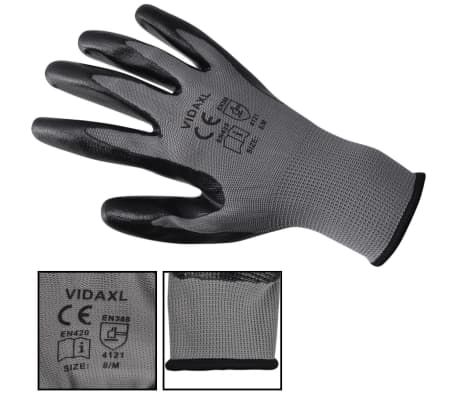 vidaXL Work Gloves Nitrile 24 Pairs Grey and Black Size 8/M[3/4]