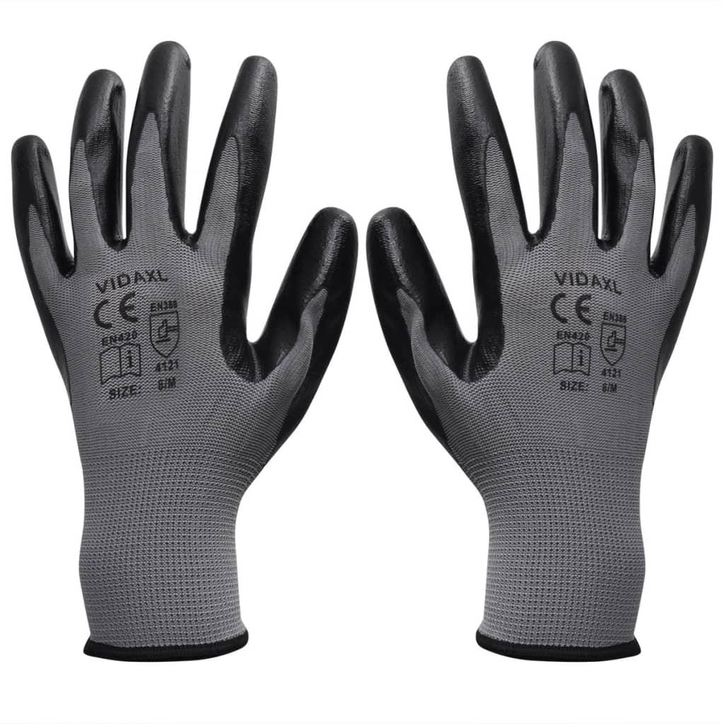 vidaXL Pracovní rukavice nitrilové, 24 párů, šedo-černé, vel. 9/L
