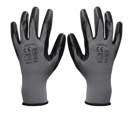 vidaXL Work Gloves Nitrile 24 Pairs Gray and Black Size 9/L[1/4]