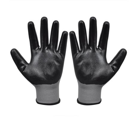 vidaXL Work Gloves Nitrile 24 Pairs Gray and Black Size 9/L[2/4]