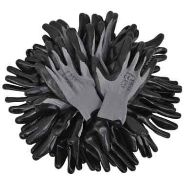 vidaXL Work Gloves Nitrile 24 Pairs Gray and Black Size 9/L[4/4]