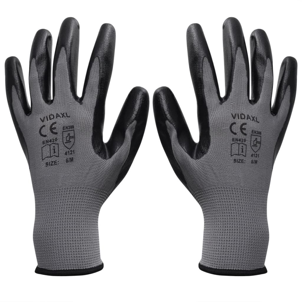 vidaXL Mănuși lucru din nitril, 24 perechi, mărime 10/XL, gri și negru poza 2021 vidaXL