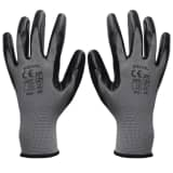 vidaXL Work Gloves Nitrile 24 Pairs Gray and Black Size 10/XL