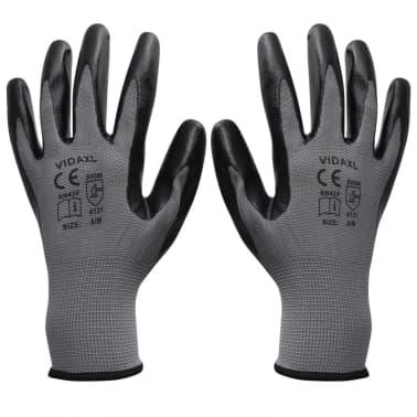 vidaXL Arbetshandskar nitril 24 par grå och svart strl. 10/XL[1/4]