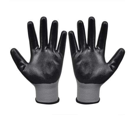 vidaXL Work Gloves Nitrile 24 Pairs Gray and Black Size 10/XL[2/4]