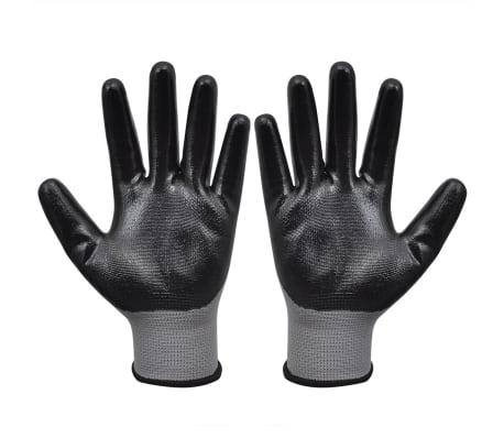 vidaXL Arbetshandskar nitril 24 par grå och svart strl. 10/XL[2/4]