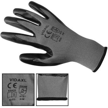 vidaXL Work Gloves Nitrile 24 Pairs Gray and Black Size 10/XL[3/4]