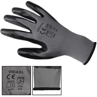 vidaXL Arbetshandskar nitril 24 par grå och svart strl. 10/XL[3/4]