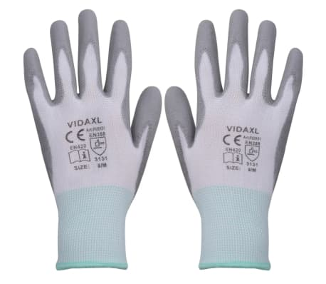 vidaXL Work Gloves PU 24 Pairs White and Gray Size 8/M[1/4]