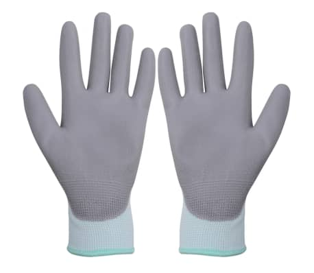 vidaXL Work Gloves PU 24 Pairs White and Gray Size 8/M[2/4]