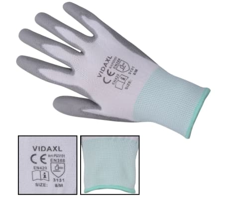 vidaXL Work Gloves PU 24 Pairs White and Gray Size 8/M[3/4]