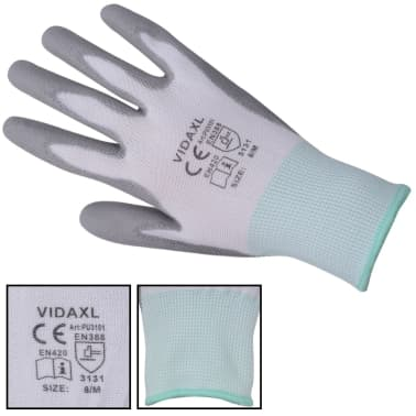 vidaXL Arbetshandskar PU 24 par vit och grå strl. 8/M[3/4]