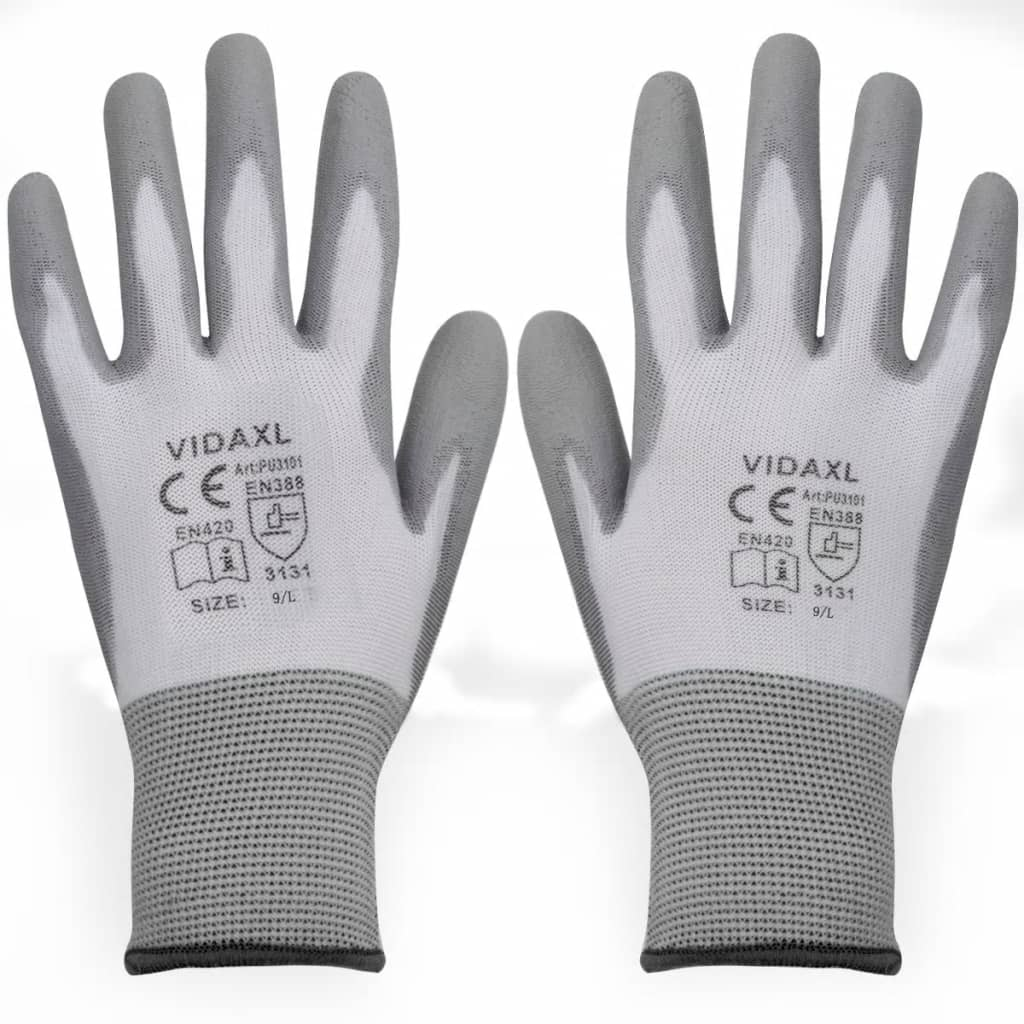 vidaXL Mănuși de lucru poliuretan, 24 perechi, alb și gri, mărime 9/L imagine vidaxl.ro