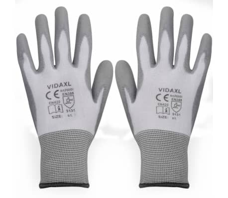 vidaXL Work Gloves PU 24 Pairs White and Gray Size 9/L[1/4]