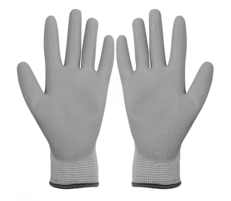 vidaXL Work Gloves PU 24 Pairs White and Gray Size 9/L[2/4]