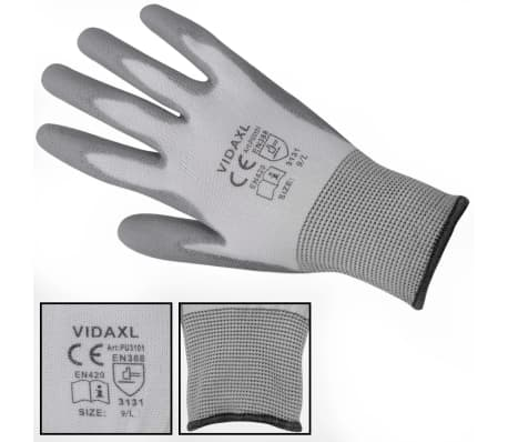 vidaXL Work Gloves PU 24 Pairs White and Gray Size 9/L[3/4]