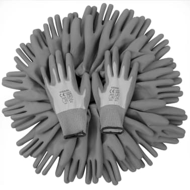 vidaXL Work Gloves PU 24 Pairs White and Gray Size 9/L[4/4]