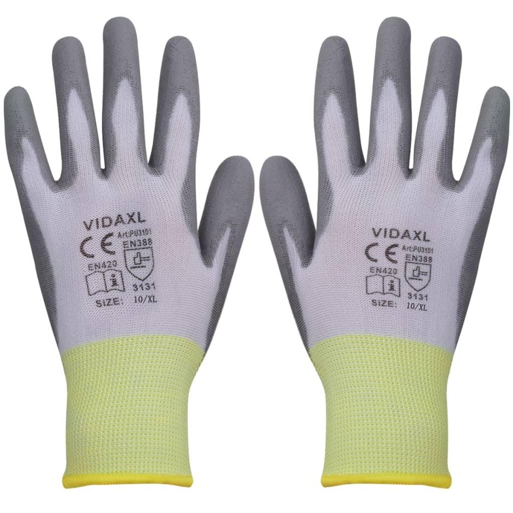 vidaXL Mănuși de protecție PU albe și gri mărimea 10/XL, 24 perechi imagine vidaxl.ro