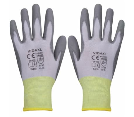 vidaXL Work Gloves PU 24 Pairs White and Gray Size 10/XL[1/4]