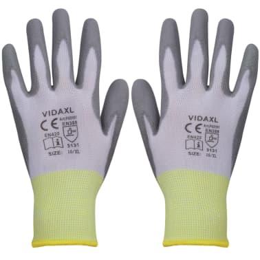 vidaXL Werkhandschoenen PU 24 paar wit en grijs maat 10/XL[1/4]