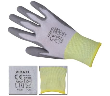 vidaXL Work Gloves PU 24 Pairs White and Gray Size 10/XL[3/4]