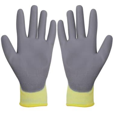 vidaXL Work Gloves PU 24 Pairs White and Gray Size 10/XL[2/4]