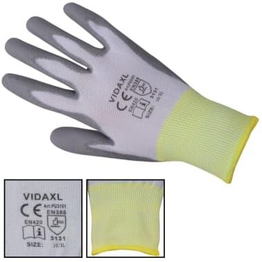vidaXL Delovne Rokavice PU 24 Parov Bele in Sive Barve Velikost 10 / XL[3/4]