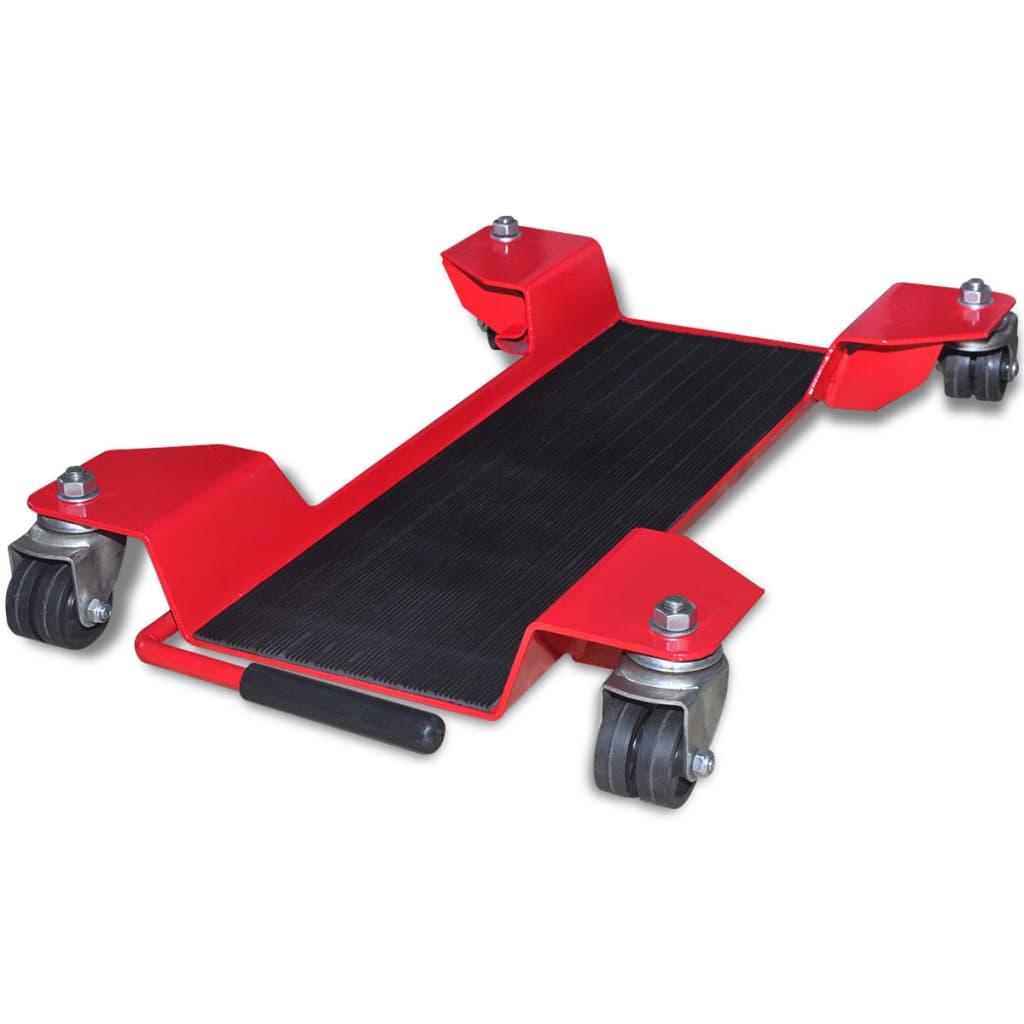vidaXL Pojízdná podložka pod centrální stojan motocyklu červená