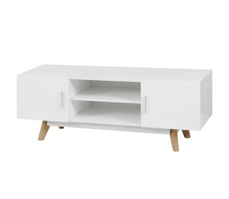 "vidaXL High Gloss TV Cabinet White 47.2""x15.7""x18"" MDF[1/6]"