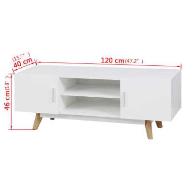 "vidaXL High Gloss TV Cabinet White 47.2""x15.7""x18"" MDF[6/6]"