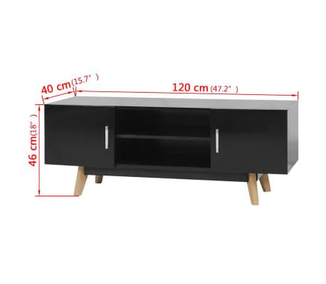 "vidaXL High Gloss TV Cabinet Black 47.2""x15.7""x18"" MDF[6/6]"
