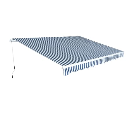 vidaXL Folding Awning Manual-Operated 450 cm Blue and White