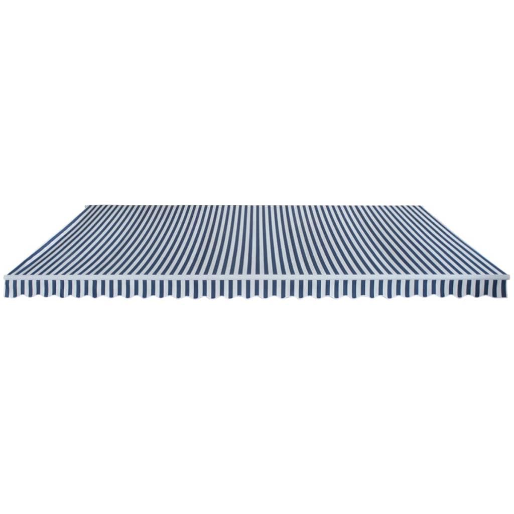 vidaXL Luifel handmatig uitschuifbaar 600 cm blauw en wit