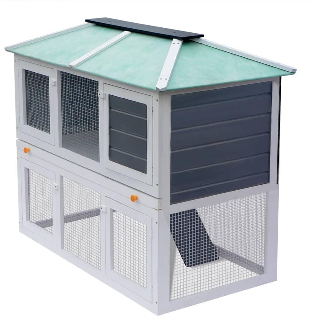vidaXL Cușcă pentru iepuri și alte animale cu două niveluri, lemn vidaxl.ro