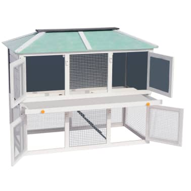 vidaXL Animal Rabbit Cage Double Floor Wood[3/8]
