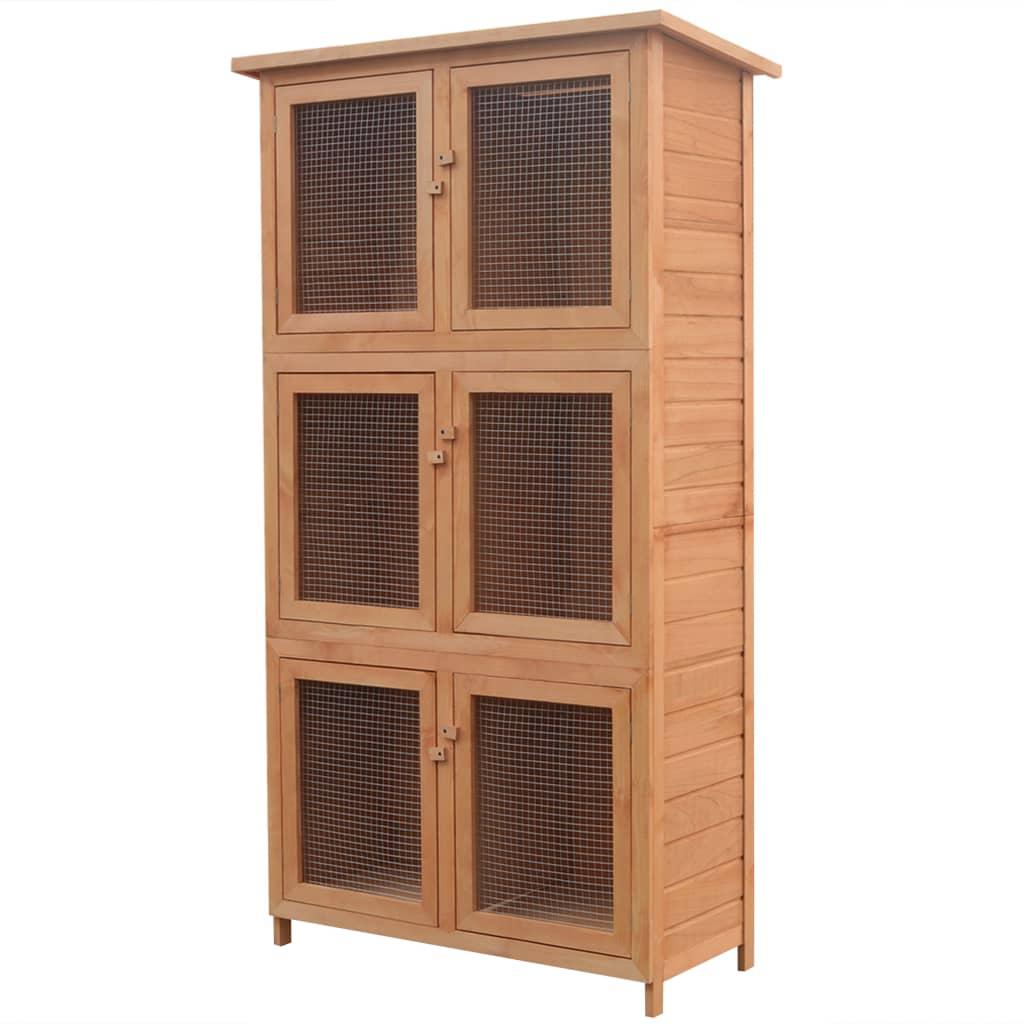 vidaXL Cușcă pentru iepuri și alte animale, 6 camere, lemn vidaxl.ro
