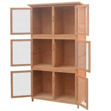 vidaXL Animal Rabbit Cage 6 Rooms Wood[3/6]